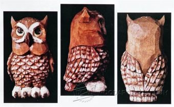 3693-Owl Wood Carving