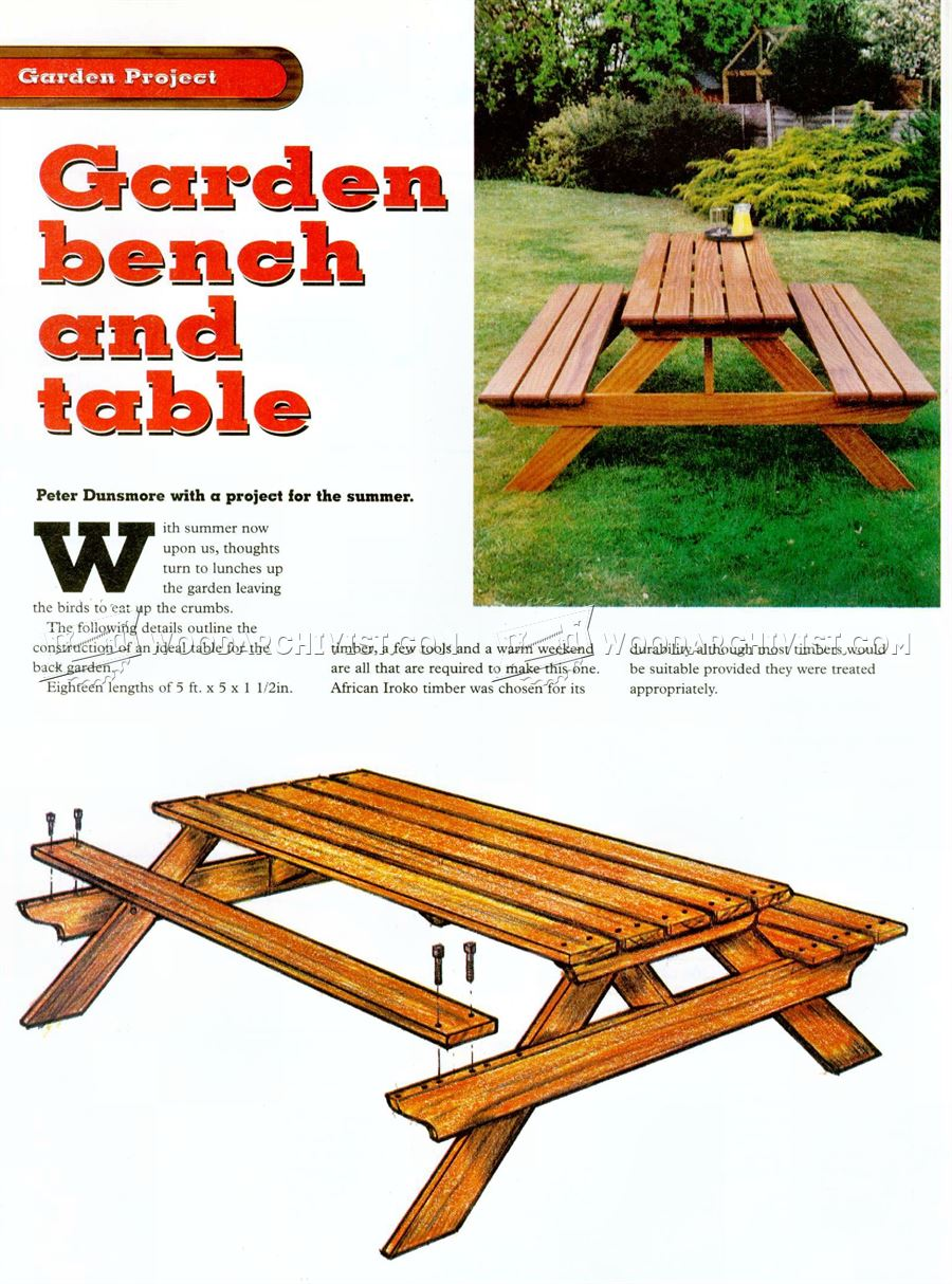 Garden Furniture Plans garden picnic table plans • woodarchivist
