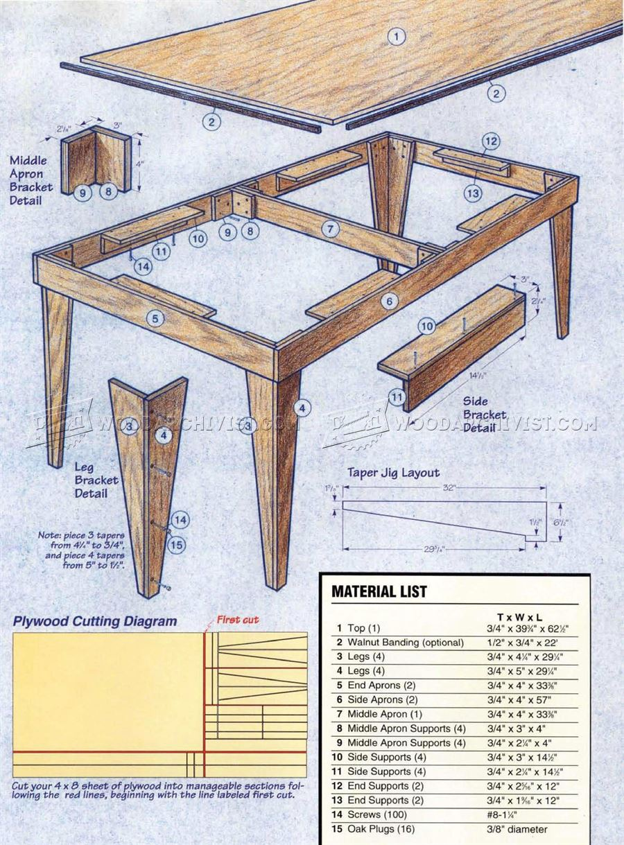 Shop Table Plans
