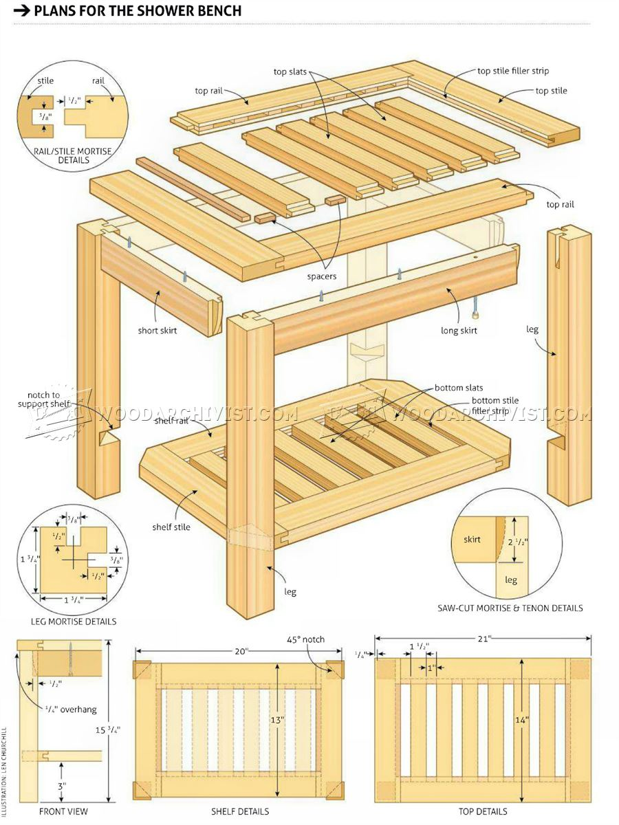 Shower Bench Plans Woodarchivist