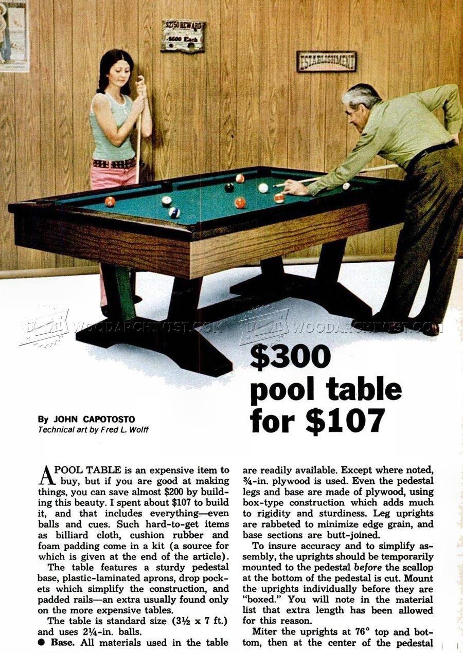 Pool Table Plans
