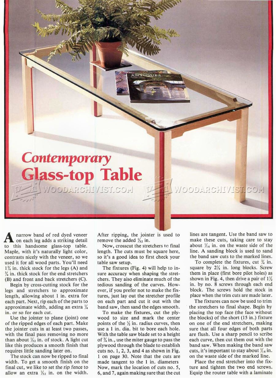 Glass Topped Coffee Table Plans
