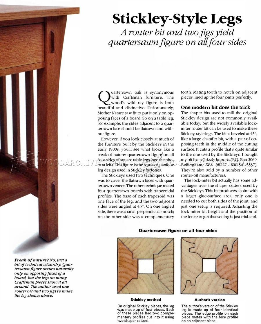 Four-Sided Quartersawn Table Legs