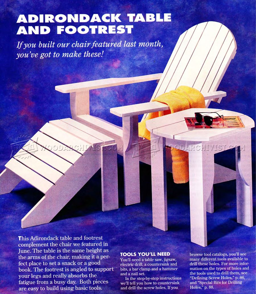 Adirondack Table and Footrest Plans