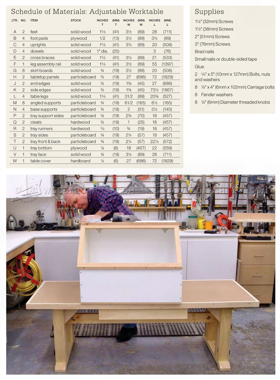 Adjustable Height Worktable Plans