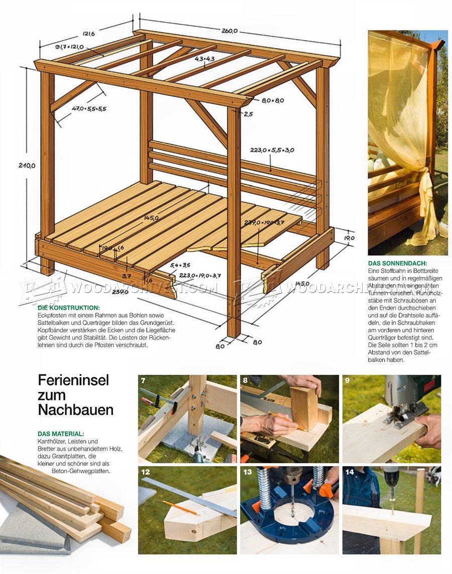 Outdoor daybed plans woodarchivist for Diy outdoor daybed plans