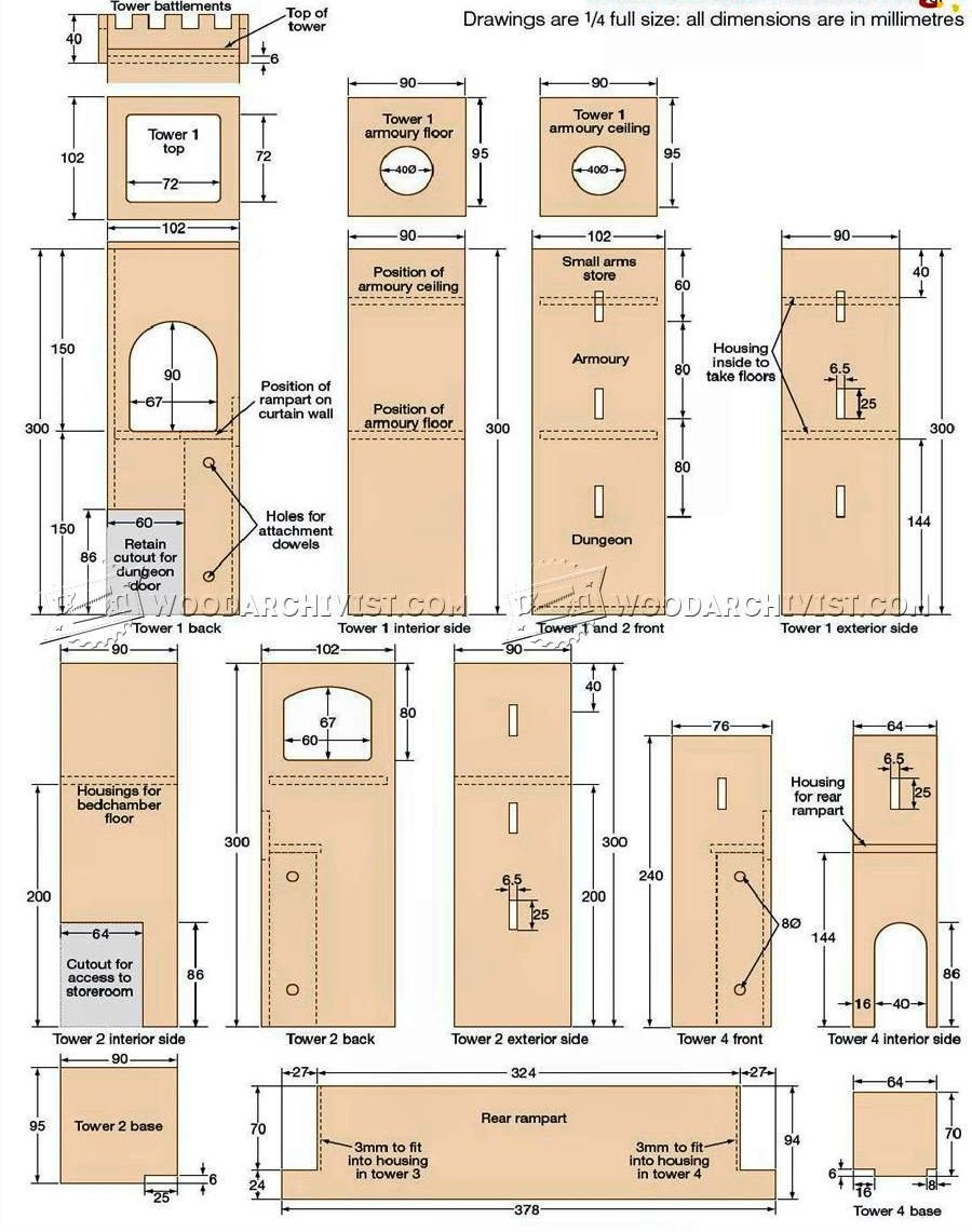 Blueprints For A Modern Four Bedroom Home: Wooden Castle Plans • WoodArchivist