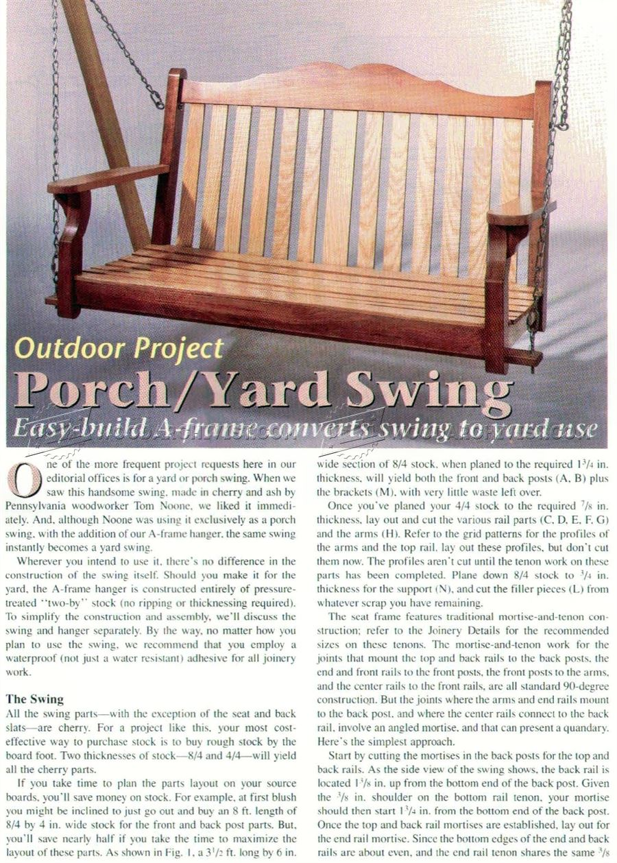 Porch/Yard Swing Plans