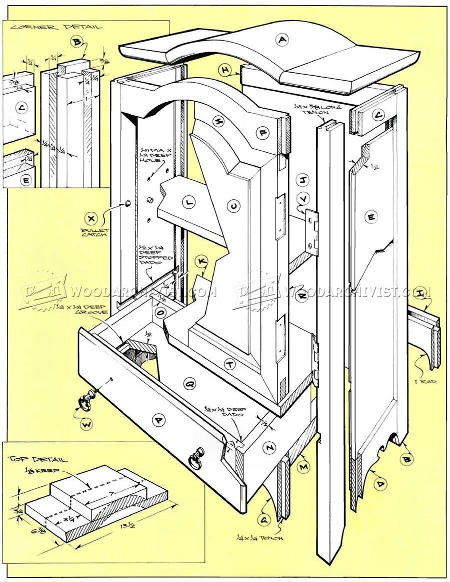 Table top jewelry armoire plans woodarchivist for Wardrobe cabinet design woodworking plans