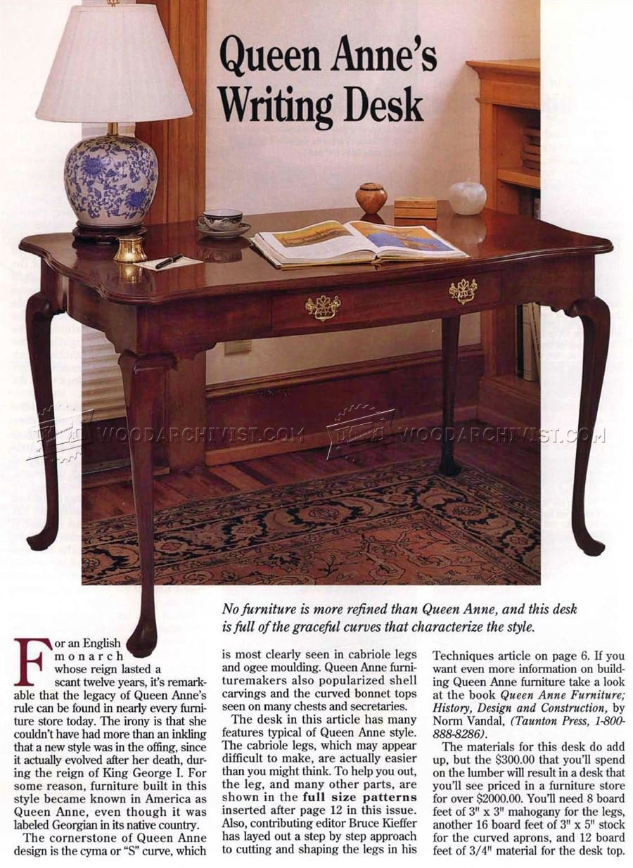 Queen Anne Writing Desk Plans