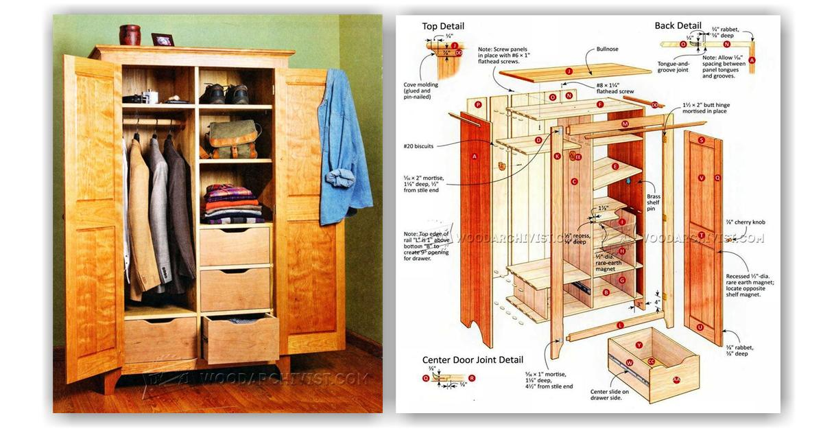 Bedroom wardrobe plans woodarchivist for Wardrobe cabinet design woodworking plans