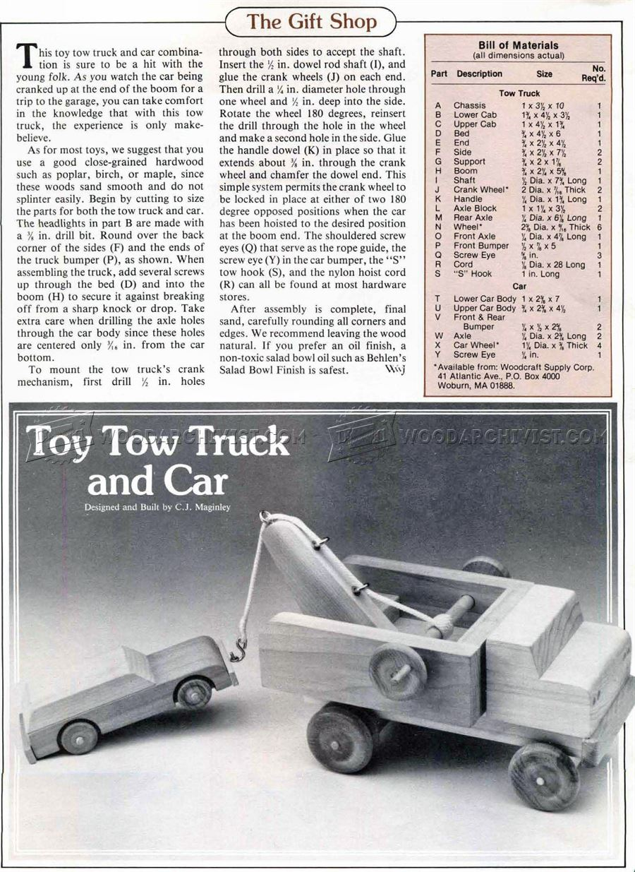 Wooden Toy Tow Truck Plans