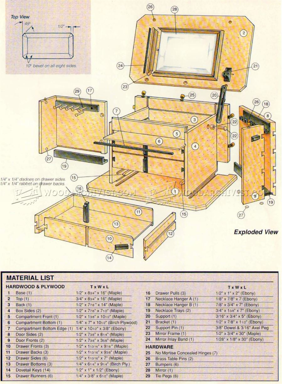 Blueprints For A Modern Four Bedroom Home: Jewelry Box Plans • WoodArchivist