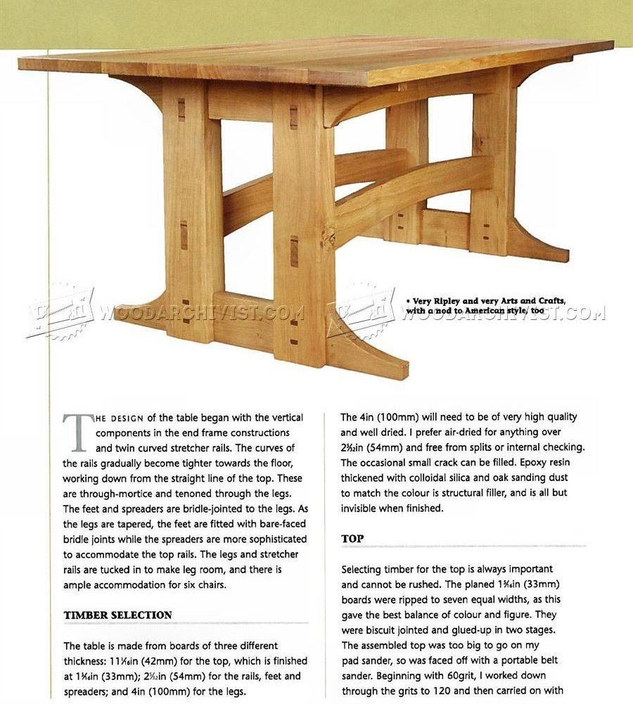 Refectory Table Plans