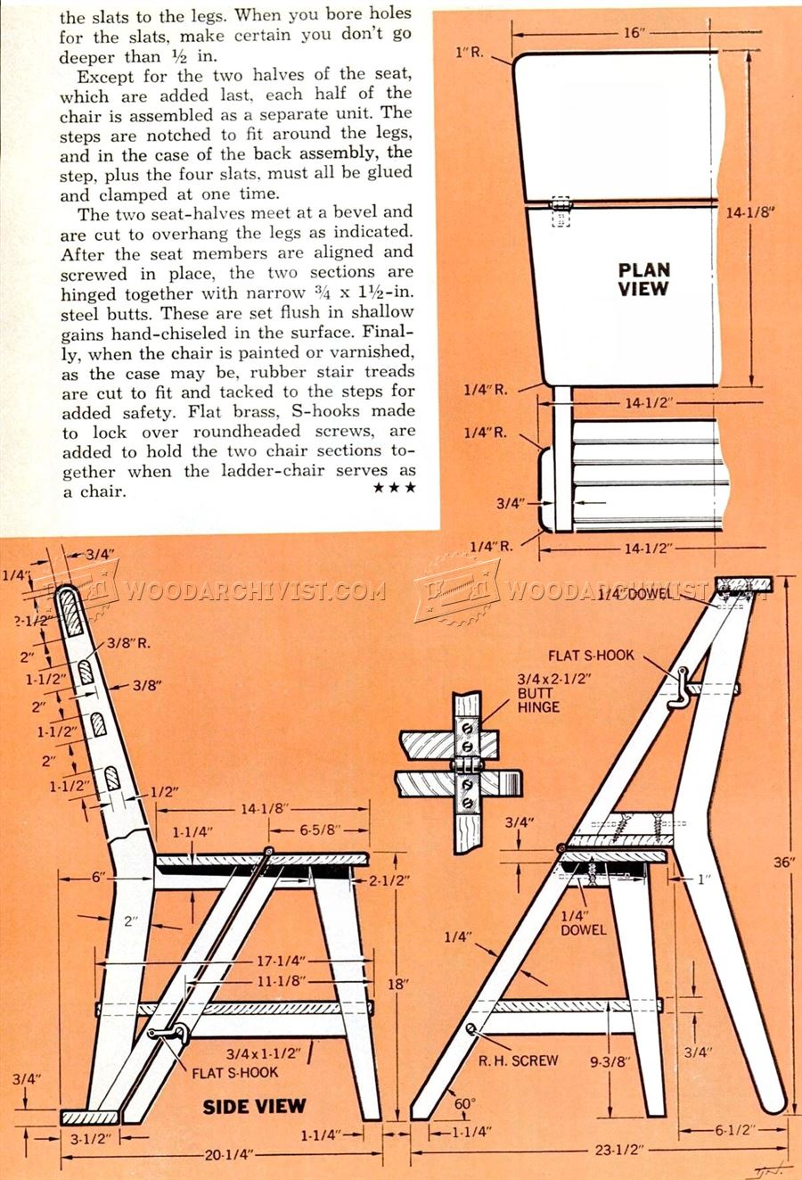 Ladder Chair Plans Woodarchivist