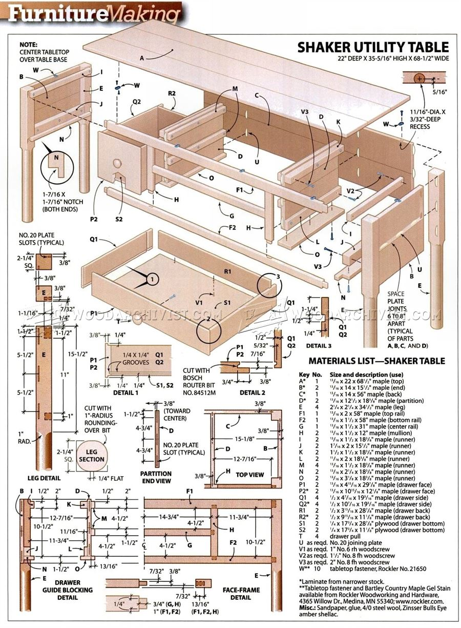 Shaker Utility Table Plans
