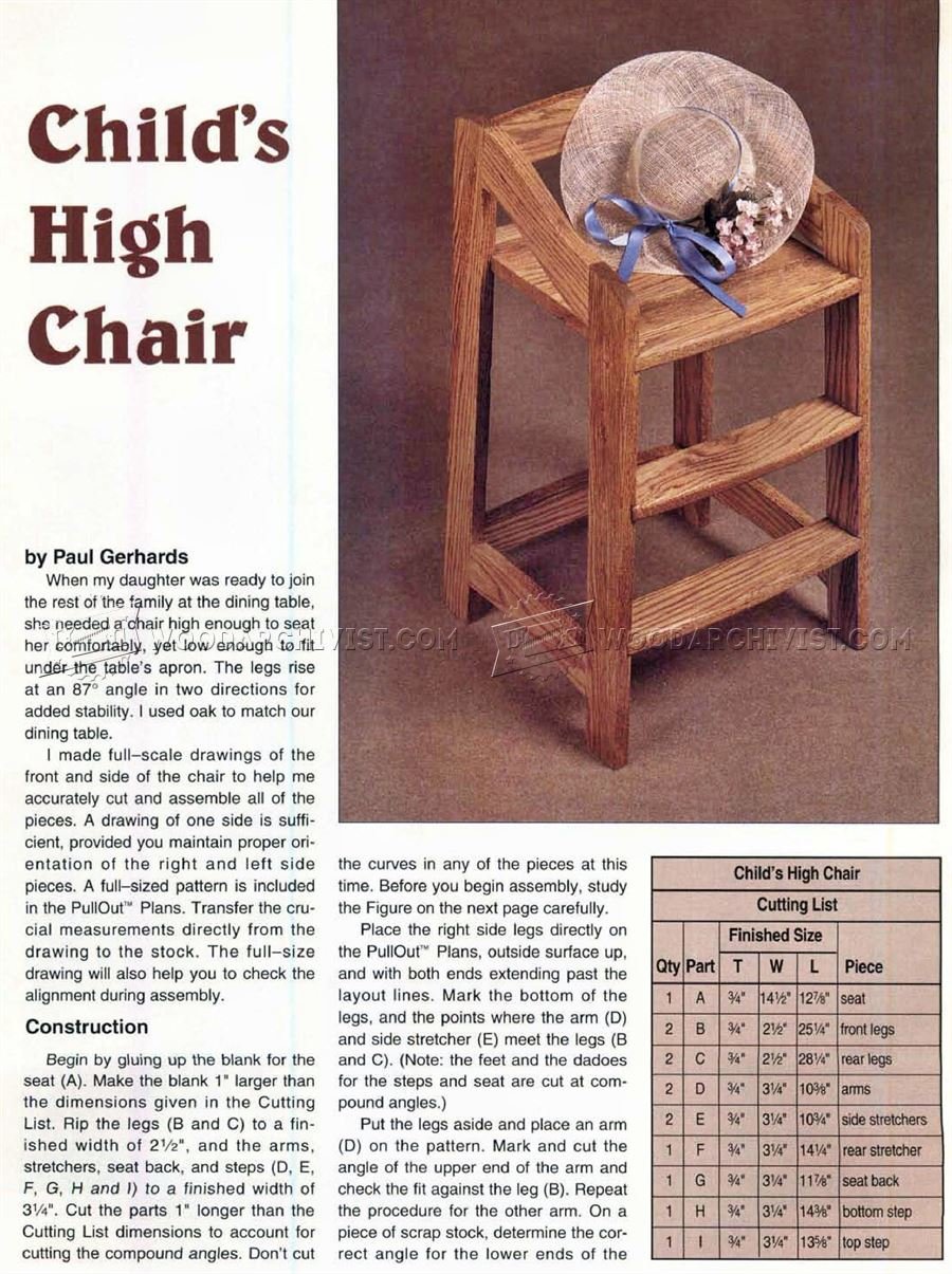 High Chair Plans