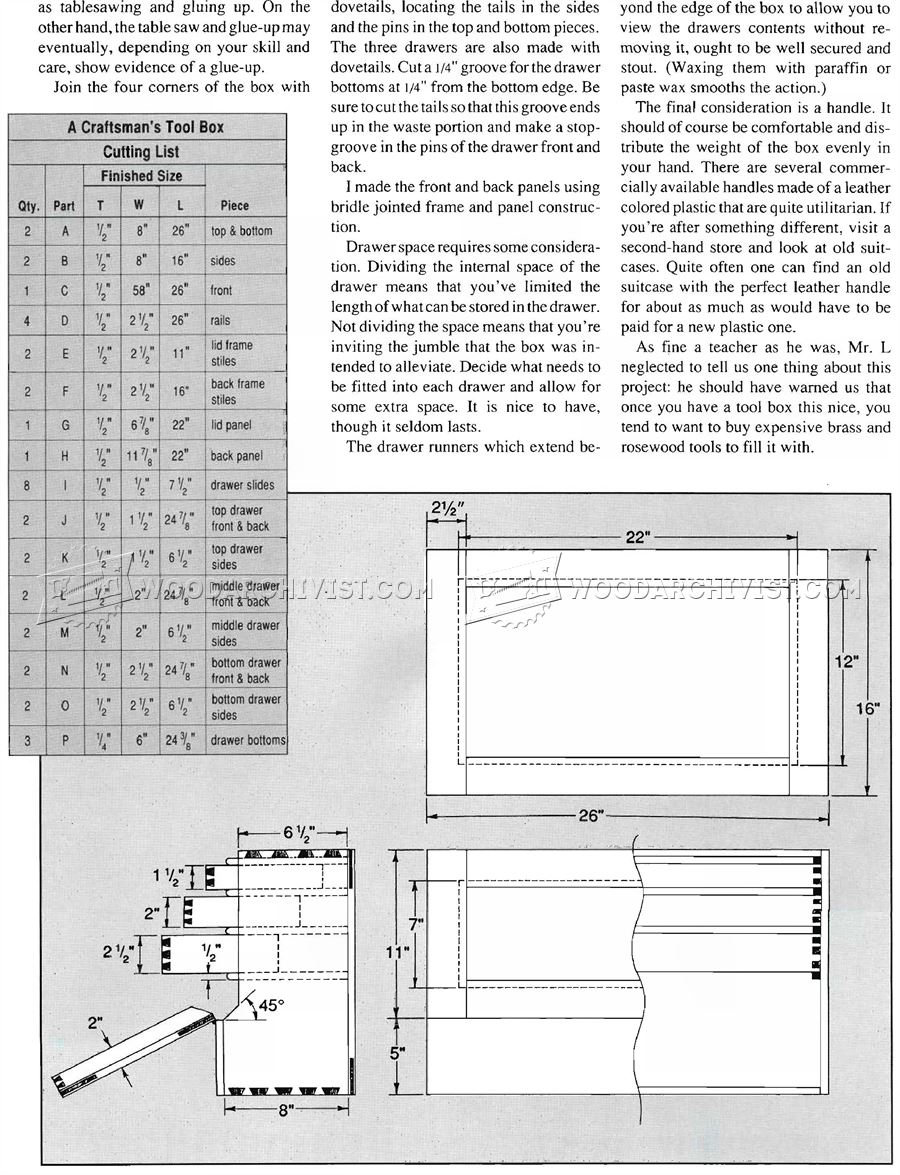 Joiners Tool Box Plans