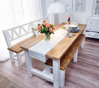 4027-Dining Set With Bench Plans