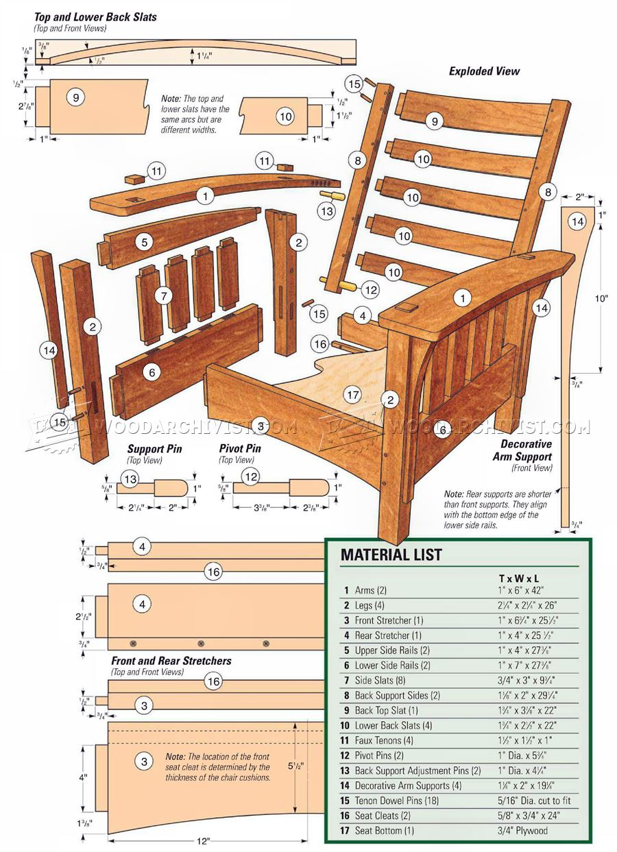 Classic Morris Chair Plans • WoodArchivist