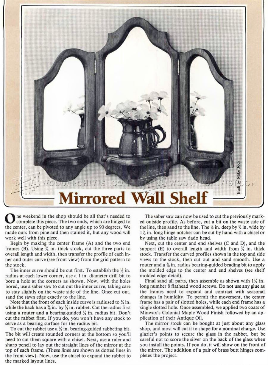 Mirrored Wall Shelf Plans