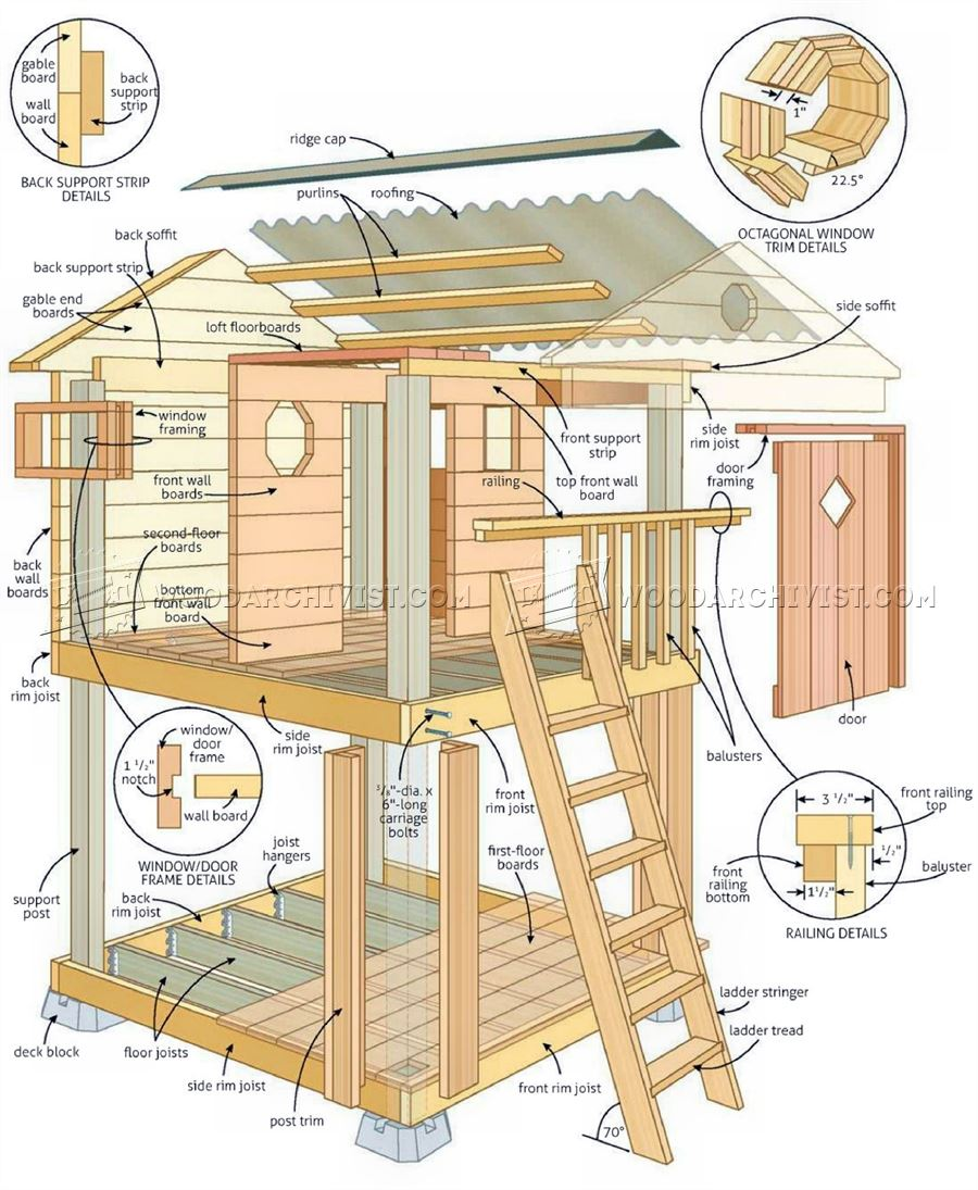 Backyard playhouse plans woodarchivist for Plans for childrens playhouse