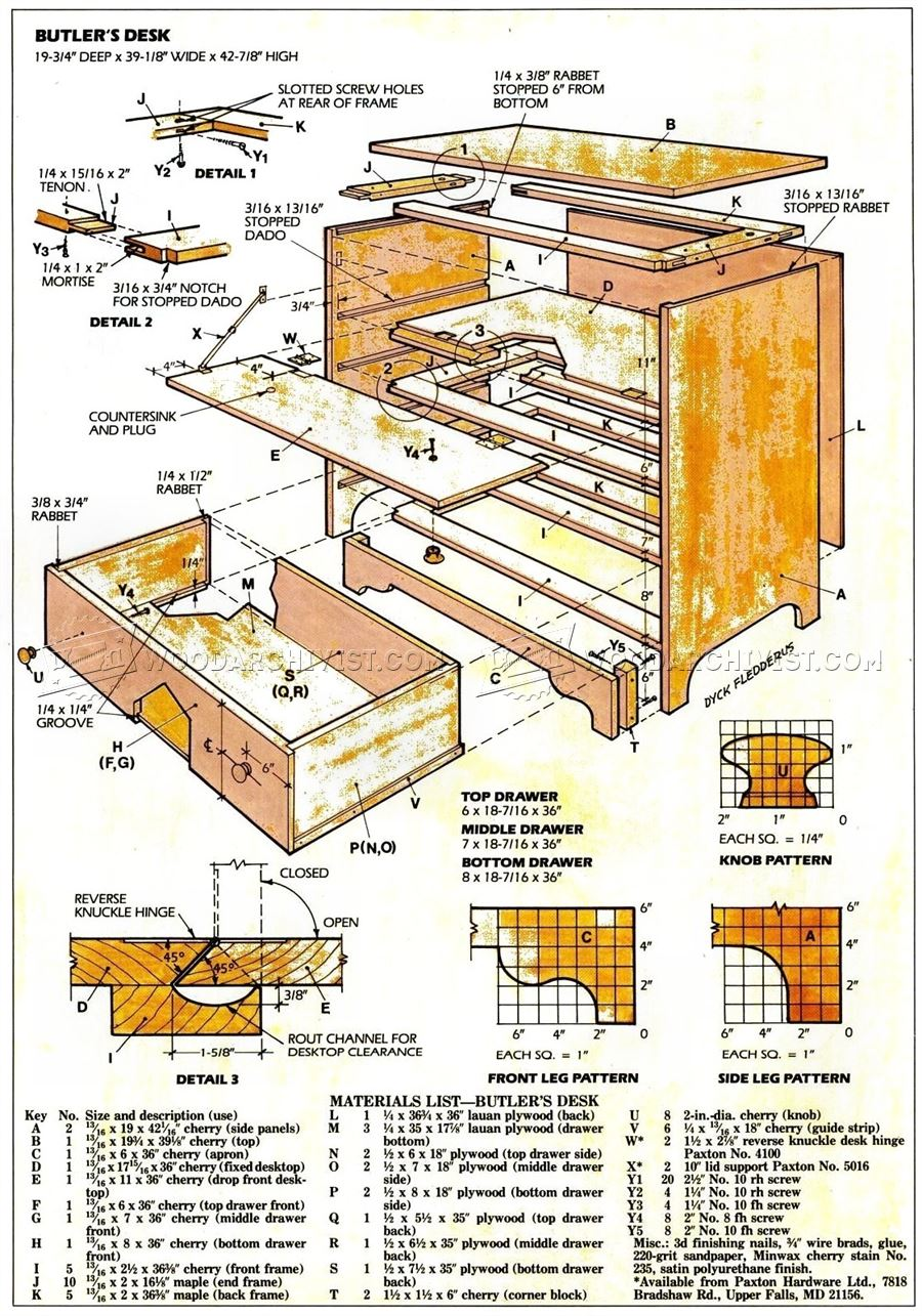 Butlers Desk Plans